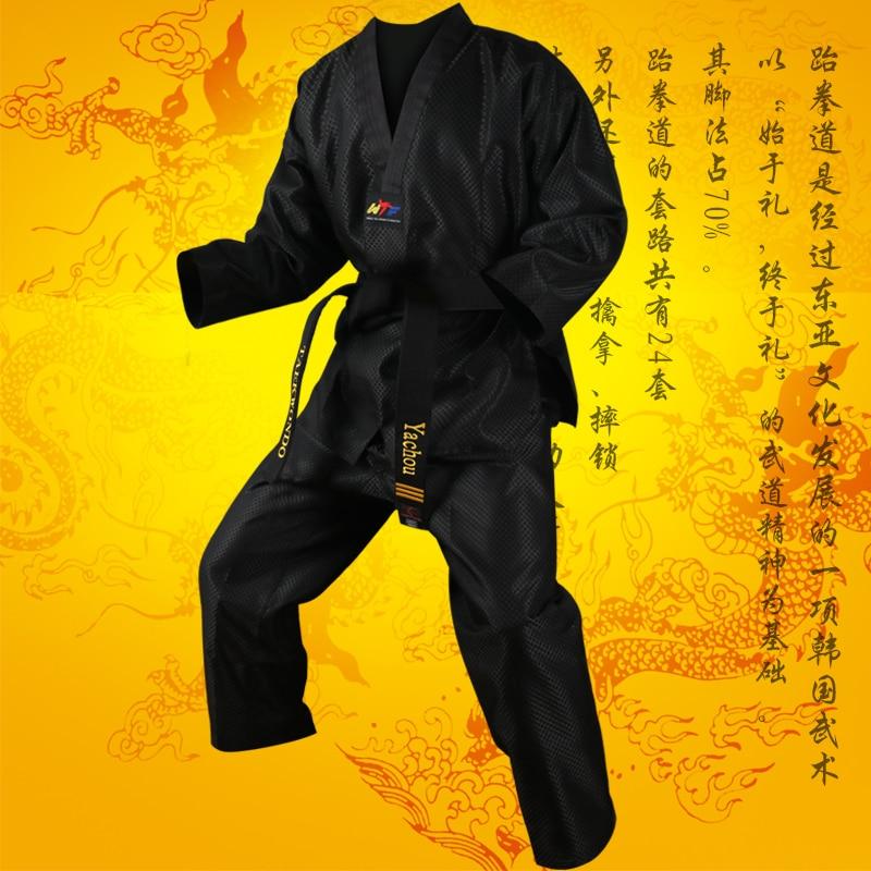 Vuxen barn långärmad röd blå svart taekwondo uniform dobok kvalitet bomullstyg Karate kostym tränare student Uniform