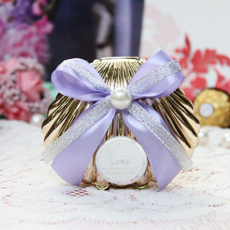 Sweet Love Wedding Favors Gift Plastic Colorful Shell Candy Box