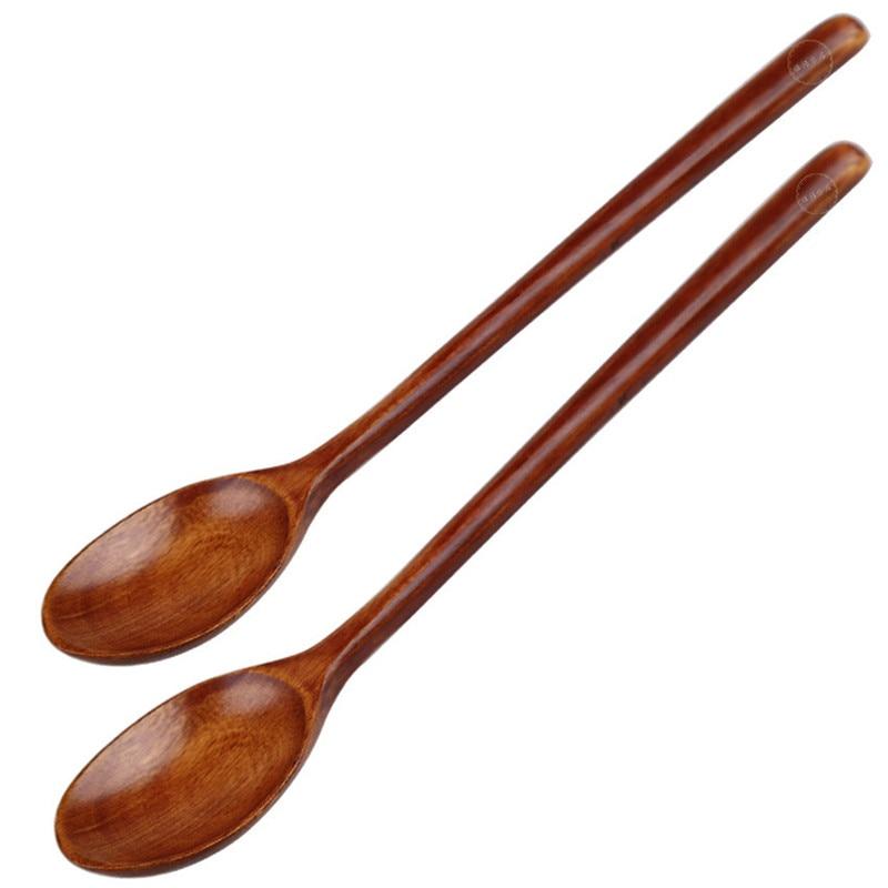 3pcs Nontoxic Retro Vintage Wooden Spoon Set for Dessert Eating Demitasse Coffee