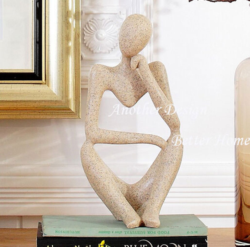 Studyroom Resin Figure Art Decor Bookend Crafts Thinking Man