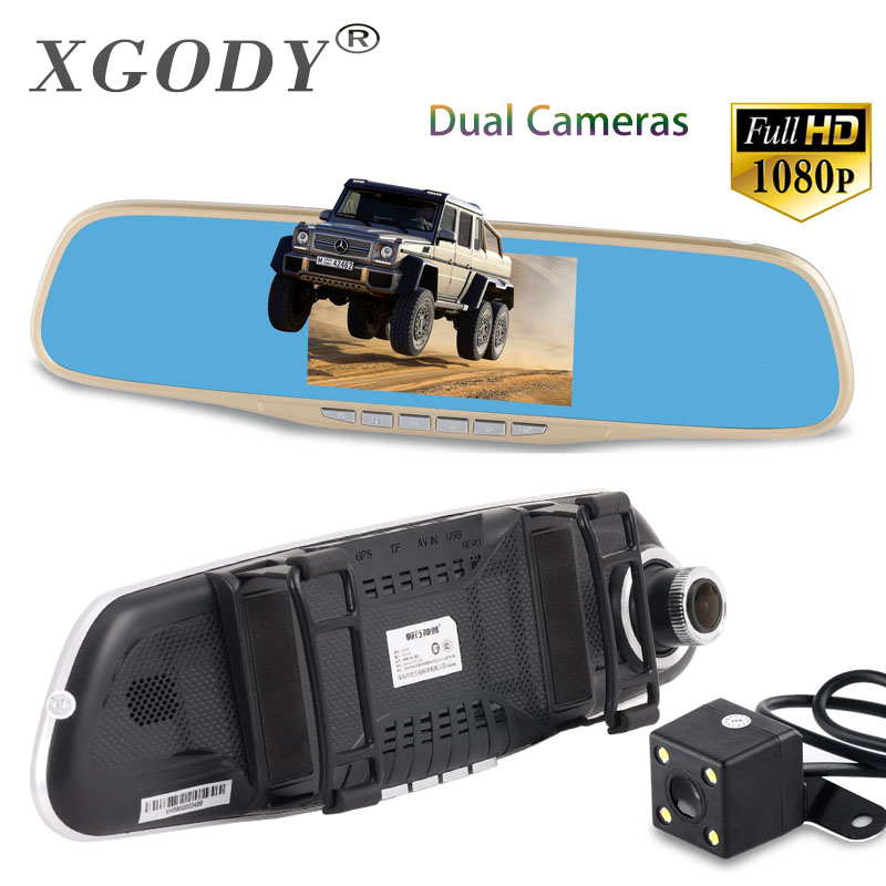 XGODY 4.3'' Car Camera DVR A430H Gold Review Mirror Digital Video Recorder Dash Cam Registrator Camcorder Full HD 1080P Dvrs image