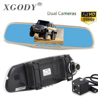 XGODY 4.3'' Car Camera DVR A430H Gold Review Mirror Digital Video Recorder Dash Cam Registrator Camcorder Full HD 1080P Dvrs