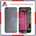 """Alta qualidade 5.5 """"para iphone 6 plus assembléia completa habitação tampa traseira da bateria com a bandeja do cartão sim + botões + cabos flex"""
