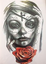 Girl With Rose 21 X 15 CM Sexy Cool Beauty Tattoo Waterproof Hot Temporary Tattoo Stickers #1