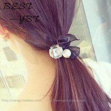 Pearl Crystal Bow Hair Accessories Bow Hair Ring Hair Rope Hair Ring Rubber Band Crystal