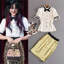 2017 summer runway set 2 pcs short sleeve cute blouses and gold sequins slimming skirts set bow ruffle tops and nallow hip skirt