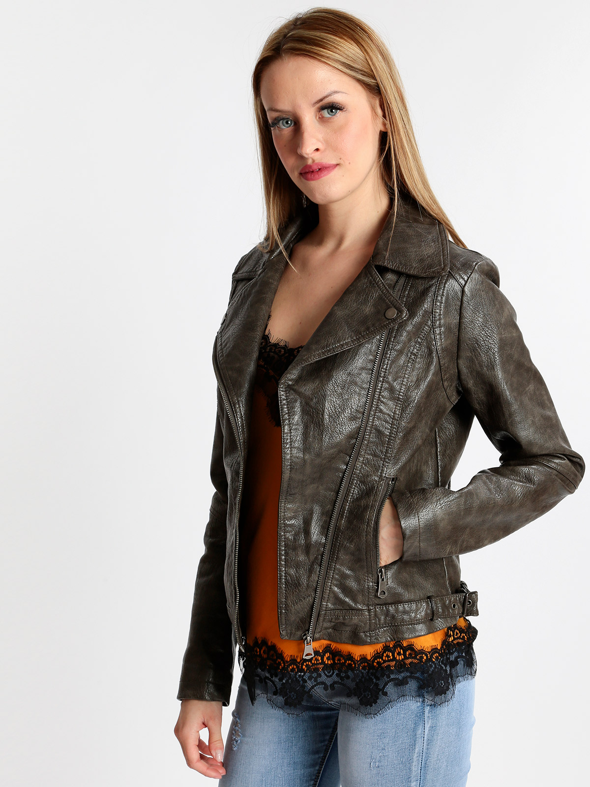 Faux   leather   Jacket Brown distressed