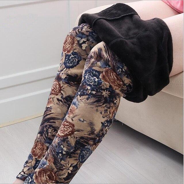 Женские Брюки Зимние теплые Брюки шерсть длинный мех карандаш брюки Женщины leopard бархат цветы брюки