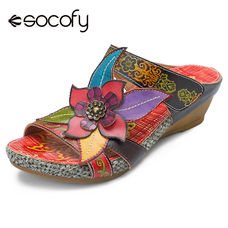 Socofy Genuine Leather Slippers Women Shoes Bohemian Handmade Flower Slide Slippers Wedge Heels Summer Shoes Woman Retro Sandals socofy bohemian genuine leather shoes women sandals vintage printing forest hook loop wedge heel women slippers summer new