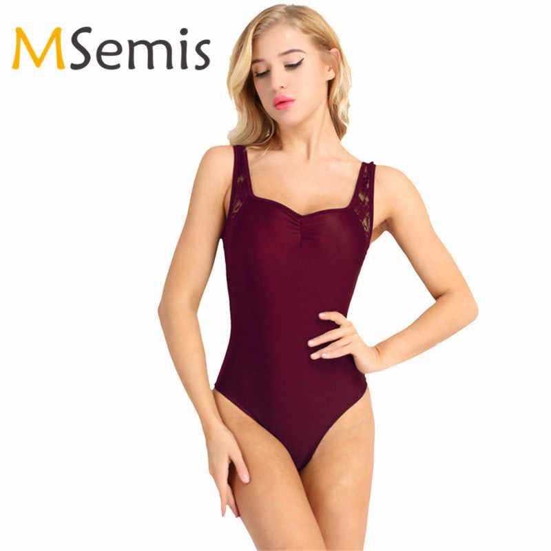 Adult Leotards Women Ballet Leotards for Women Adult Sleeveless Lace Shoulder Low Back Ballet Dance Leotard Bodysuit for Dancing