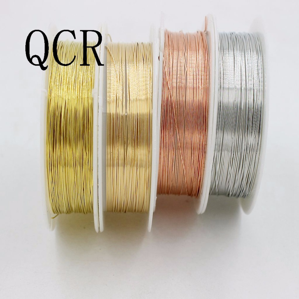 1 Roll Alloy Cord Silver Gold Plated Craft Beads Rope Copper Wires Beading Wire Jewelry Making(0.25/0.3/0.4/0.5/0.6/0.7/0.8/1mm) low resistivity cuni alloy wires cuni10 alloy wire