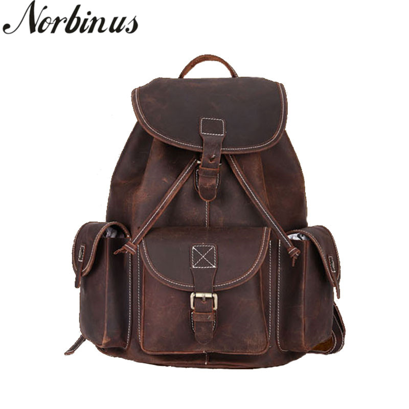 Norbinus Natural Leather Men Backpacks School Bag for Teenager Boys Genuine Leather Laptop Backpack Male Travel Rucksack Mochila цена 2017