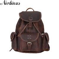 Norbinus Natural Leather Men Backpacks School Bag for Teenager Boys Genuine Leather Laptop Backpack Male Travel Rucksack Mochila
