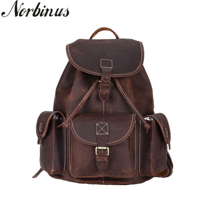 Norbinus en cuir naturel hommes sacs à dos sac d'école pour adolescent garçons véritable sac à dos en cuir pour ordinateur portable homme voyage sac à dos Mochila