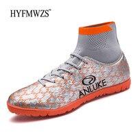 HYFMWZS Turf Indoor Sock Football Shoes High Ankle Soccer Shoes Mens Football Boots Krasovki Men Superfly Chuteira Futebol