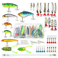 Conjunto Isca de Pesca Minnow Mista DONQL Colher Kit Com Caixa Popper Crankbait Sapo Macio Isca De Pesca Acessórios de Pesca Equipamento De Pesca Definido