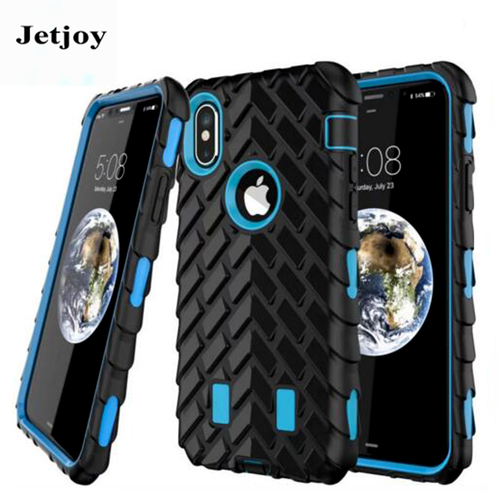 JETJOY Tire Texturing Multi-layer Guard Armor Screen Protection Cases Hard Plastic Fundas For Apple iPhone 10 ten X Cover Cases