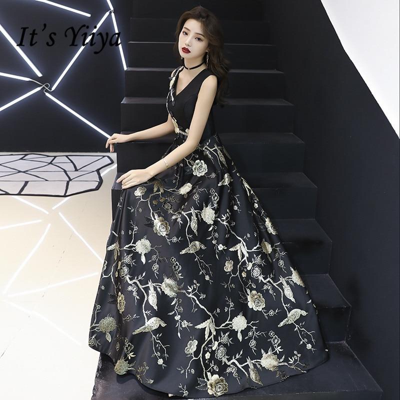 It's YiiYa Long   Evening     Dress   Vintage Print Sleeveless V-neck Tank Formal   Dresses   Black Appliques Long Fashion Party Gown E013