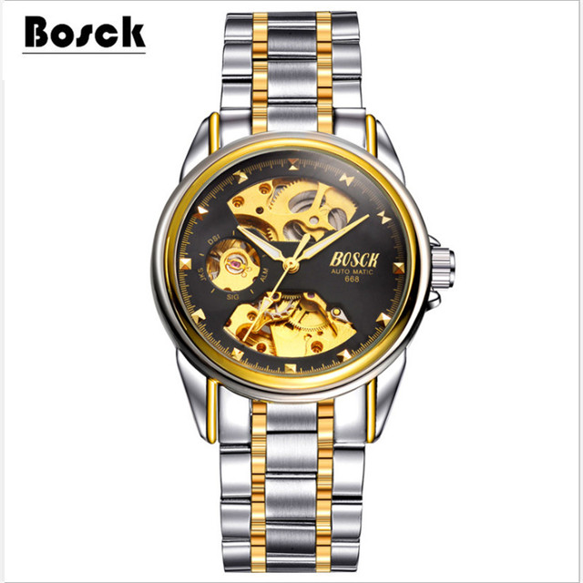 BOSCK waterproof mechanical watches, stainless steel casual fashion sports men's watches relojes hombre 2016 relogio masculino