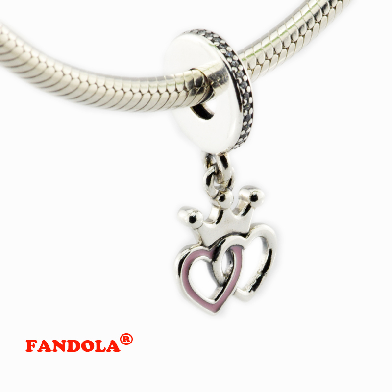 Lily Jewelry Crown CZ Dangle 925 Sterling Silver Bead Fits Pandora European Charm Bracelet QBSy3Q