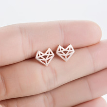 Shuangshuo 2017 New Fashion Origami Fox Stud Earrings for Women Simple Origami Fox Jewelry Party Gifts pendientes hombre(China)
