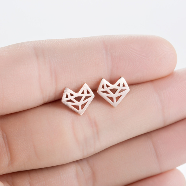 Shuangshuo 2017 New Fashion Origami Fox Stud Earrings for Women Simple Origami Fox Jewelry Party Gifts pendientes hombre