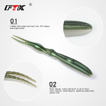 Купить с кэшбэком FTK Fishing Lure 4 pcs Bass Fishing Soft Bait Minnow Shad Lure Tackle Fake Squid Wobbler Swim Bait Worm Fork Tail Saltwater HF