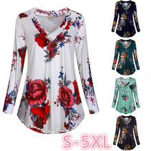 Floral Print V-neck Blouses And Tops With Button Big Size Women Clothing 5XL Plus Tunic Shirt 2019 Autumn