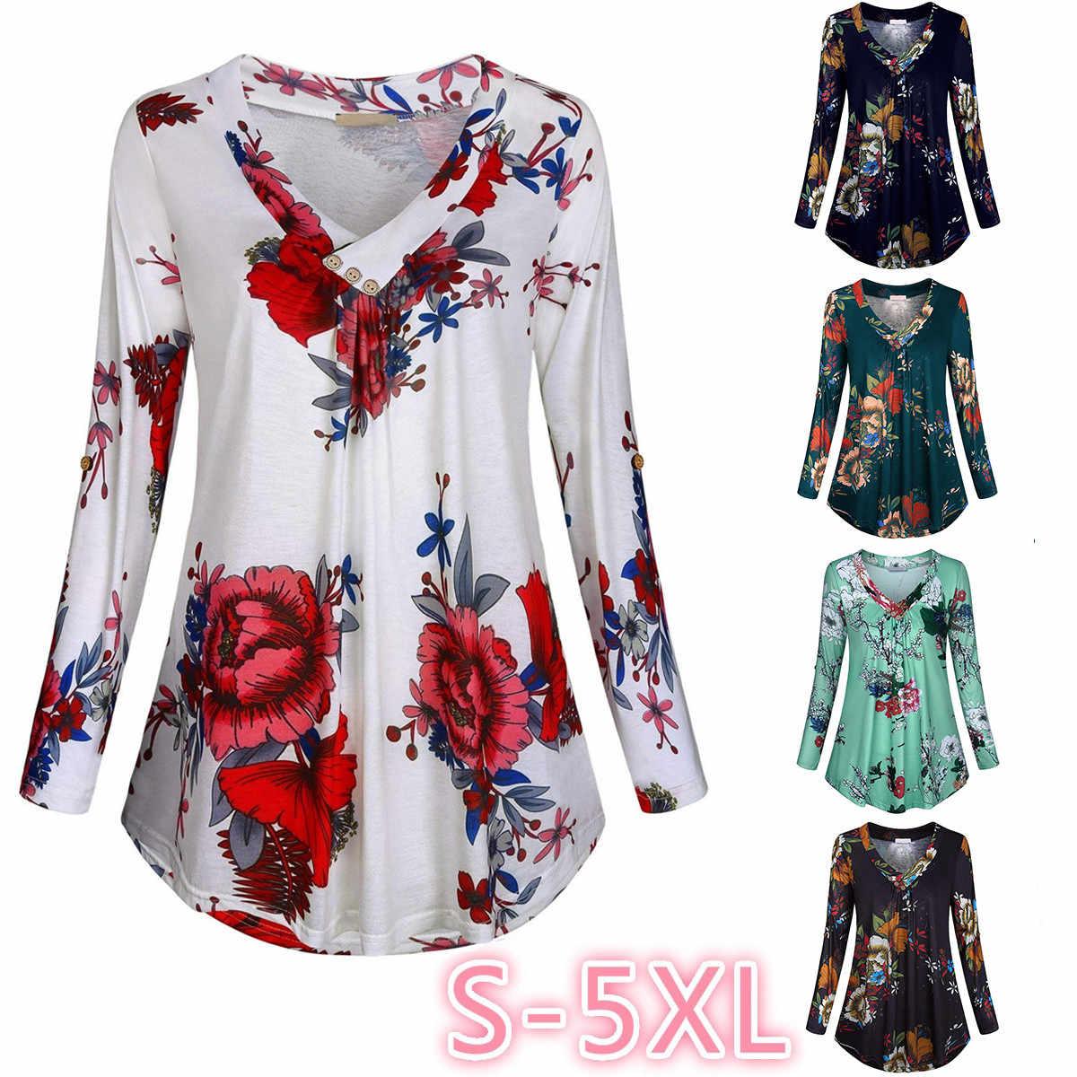 พิมพ์ดอกไม้ V คอเสื้อและเสื้อที่มีปุ่มขนาดใหญ่เสื้อผ้าผู้หญิง 5XL PLUS ขนาดผู้หญิงเสื้อ 2019 ฤดูใบไม้ร่วง