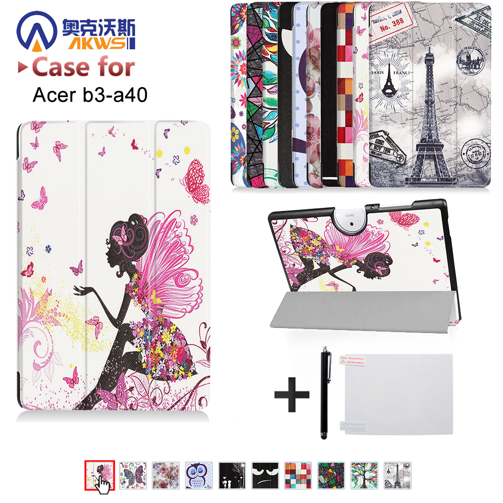 Case For Acer Iconia One 10 B3-A40 10.1 Tablet PC PU Leather Folio Protective Case Cover Acer B3-A40 10 inch Tablet PC Case for acer iconia tab a500 a501 a510 a511 a700 10 1 inch 360 degree rotating universal tablet pu leather cover case