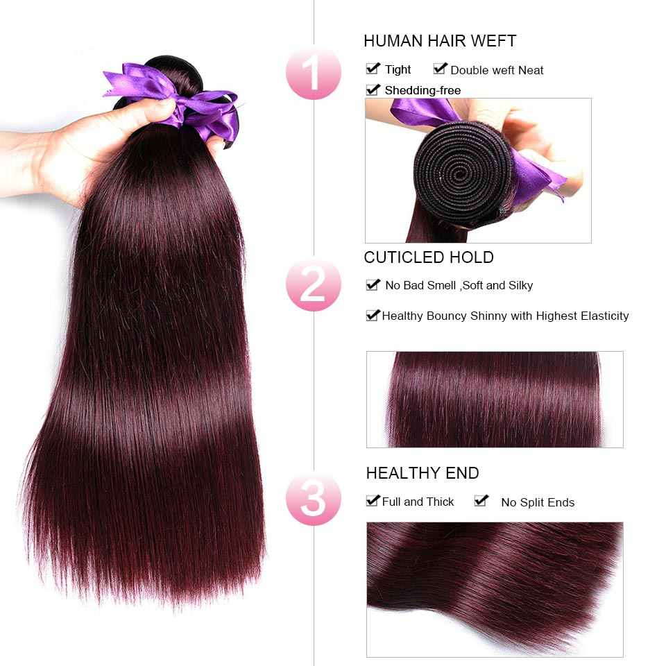Pinshair бордовые прямые волосы пучки предложения бразильского человеческих волос Weave 4 Связки не Реми предварительно окрашенных волос без запах