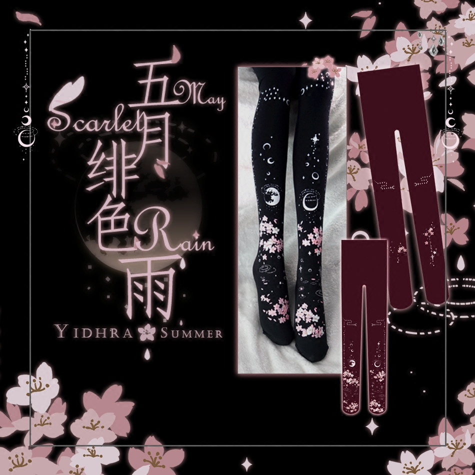 Buy Princess sweet lolita Japanese Princess Water reflection Moon Sakura pantyhose  bk19
