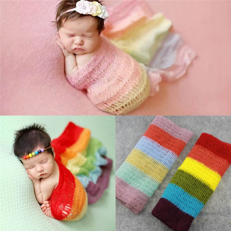 Baby Blankets Rainbow Weave Crochet Newborn Blanket Kids Personalized Cotton Bedding Cover Appease Sofe Babies Photo Props