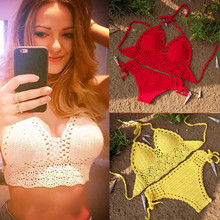 купить Handmade Crochet Lace Knit Bra Swimwear Beach Push-up Bikini Set Halter Cami Tank Crop Top дешево