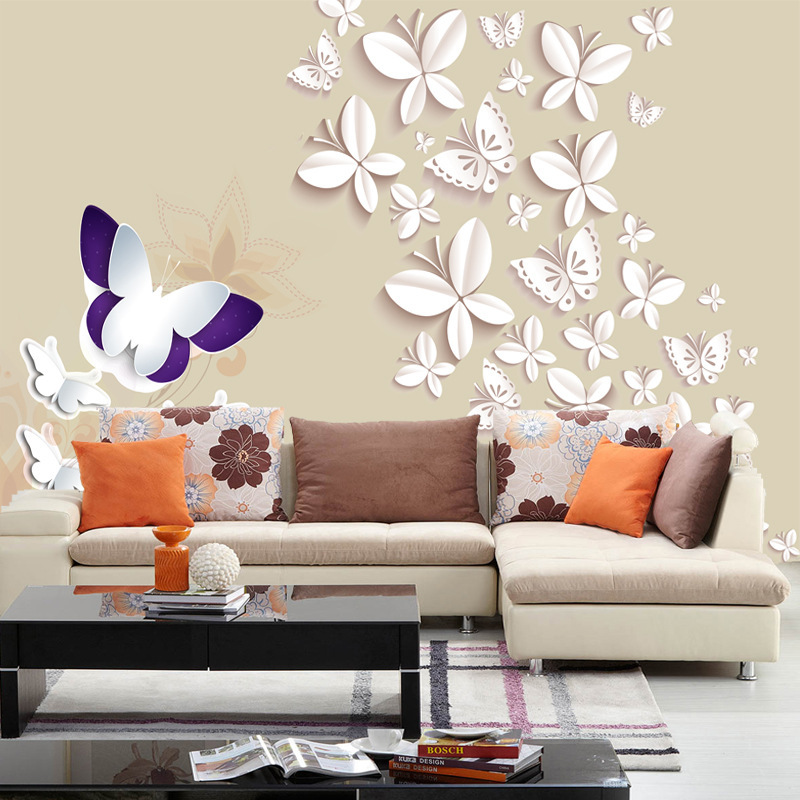 Free shipping Modern 3D stereoscopic butterfly wallpaper bedroom ...