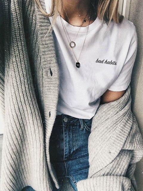 fb26f3caa Bad Habits T shirt Tumblr Aesthetic Tees Fashion Clothes Cute ...