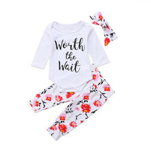 3Pcs Newborn Clothing Set Cute Toddler Kids Baby Girls Clothes Romper Tops +Pants Children Outfits