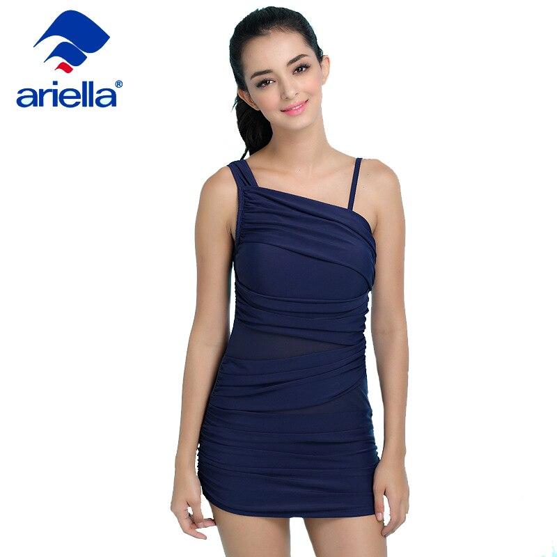 Ariella Brand Sexy Beach One Piece Swimsuit Blue Mesh Backless Bodysuit Bathing Suit Swim Maillot de bain Plus size Swimwear plus size scalloped backless one piece swimsuit