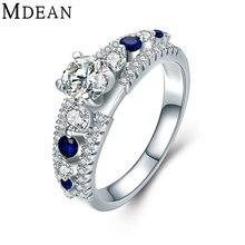 MDEAN 925 sólido plata esterlina CZ diamond joyería zafiro anillos de compromiso para la mujer azul de la boda las mujeres anillos de plata MSR477