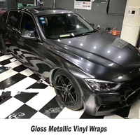 Gloss metallic gunmetal Vinyl Wrap Car Wrapping Styling With Air Bubble Free Dark Grey Glossy foil Size:1.52*20M/Roll
