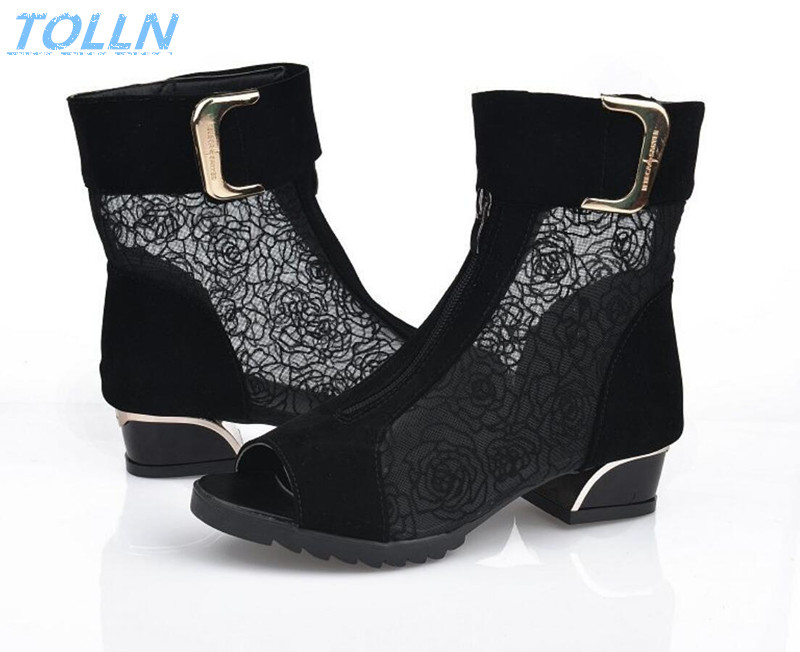 2017 fashion women's spring and summer shoes open toe sandals lace net boots thick heel mujer sandals gladiator gauze  size35-39 2016 new spring and summer fashion thick with the heel lace leisure wild white shoes student shoes for women boots