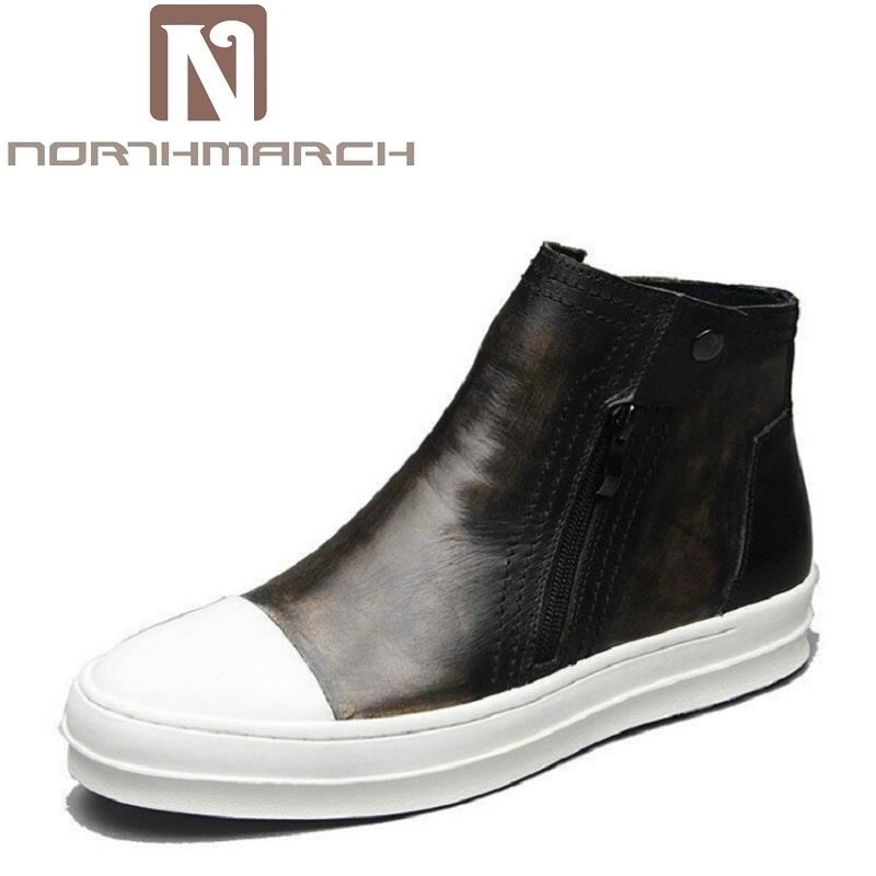 3d174783 Cuero Resbalón Chelsea Casual Botas Punta Zapatos Redonda Confort Mens  Hombre Top Northmarch Botines marrón Marca ...
