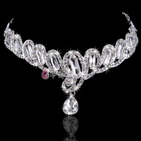 New Bride Crown Frontlet Eyebrows Fall Wedding Rhinestone Tiara Wedding Hair Accessories Jewelry Short Hair Ornaments