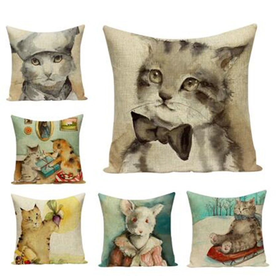 Table & Sofa Linens Competent Cute Cat Cushion Cover Animal Decorative Chair Sofa Throw Pillow Case Cat Pet Home Decor Velvet Cotton Linen Funda Cojin E1700 Punctual Timing Home Textile