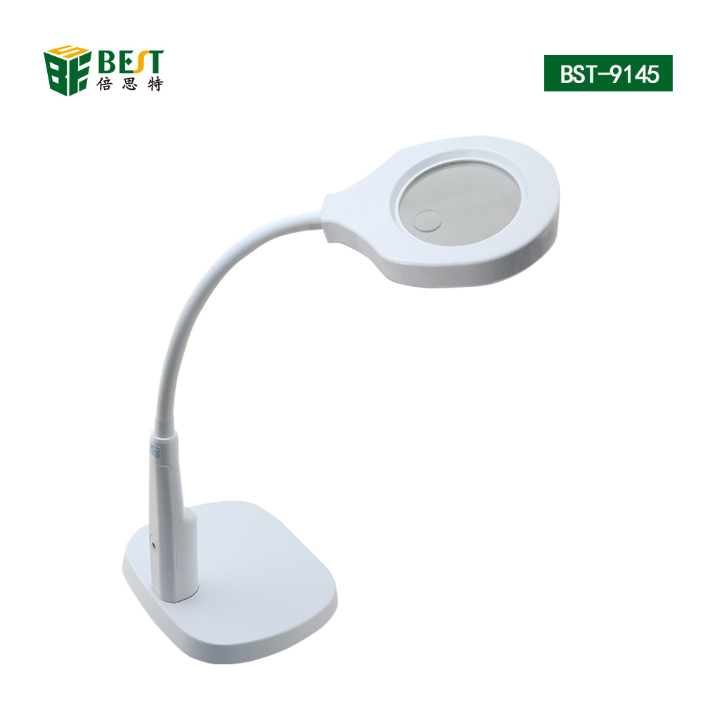 2 in 1 Desk Magnifier Lamp LED Light Magnifying Glass With Clamp 6X/12X