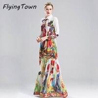 FlyingTown Designer Dress Runway 2017 Quality Women Shirt Robe Long Sleeve Maxi Flower Print Vintage Boho