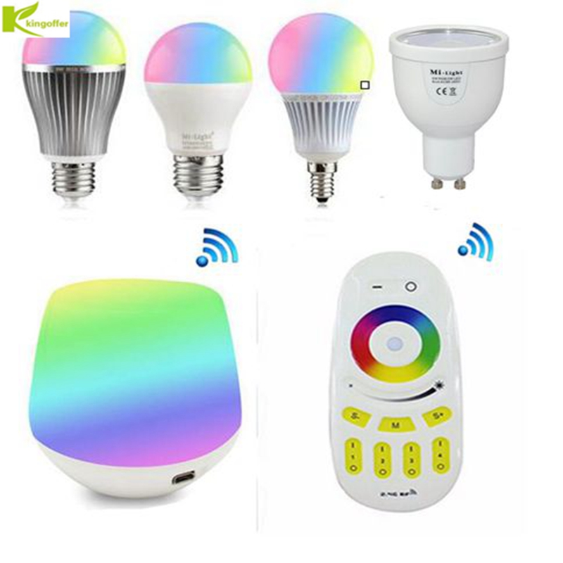 Kingoffer Milight 2.4G 4W 5W 6W 9W GU10 E27 E14 RGB CCT RGBW RGBWW Led Bulb & 4-Zone RF Remote Control & Wifi Controller Box 4x mi light gu10 4w rgbw or rgbww wifi compatible led bulb lamp ac85 265v 4 zone 2 4g rf wireless touch remote controller