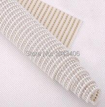 New! Pearl Clear Rhinestone Beaded Trim Iron On Diamond Mesh Bridal Strass Crystal Applique Roll For Garment Wedding Decoration