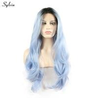 Sylvia Fresh Color Dark Root Ombre Pastel Blue Heat Resistant Fiber Hair Long Nature Wavy Light