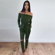 Jumpsuits For Women Sexy 2019 Summer New Arrival High Street Style Elegant Long Sleeve Slash-Neck Off Shoulder Jumpsuit Rompers